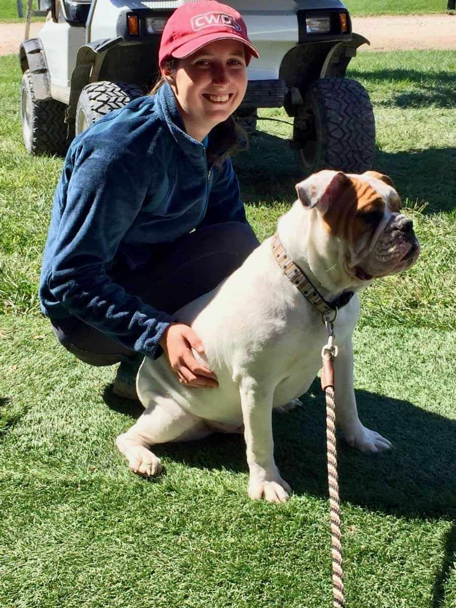 Emily Pope at The University of Minnesota with gordito the dog.
