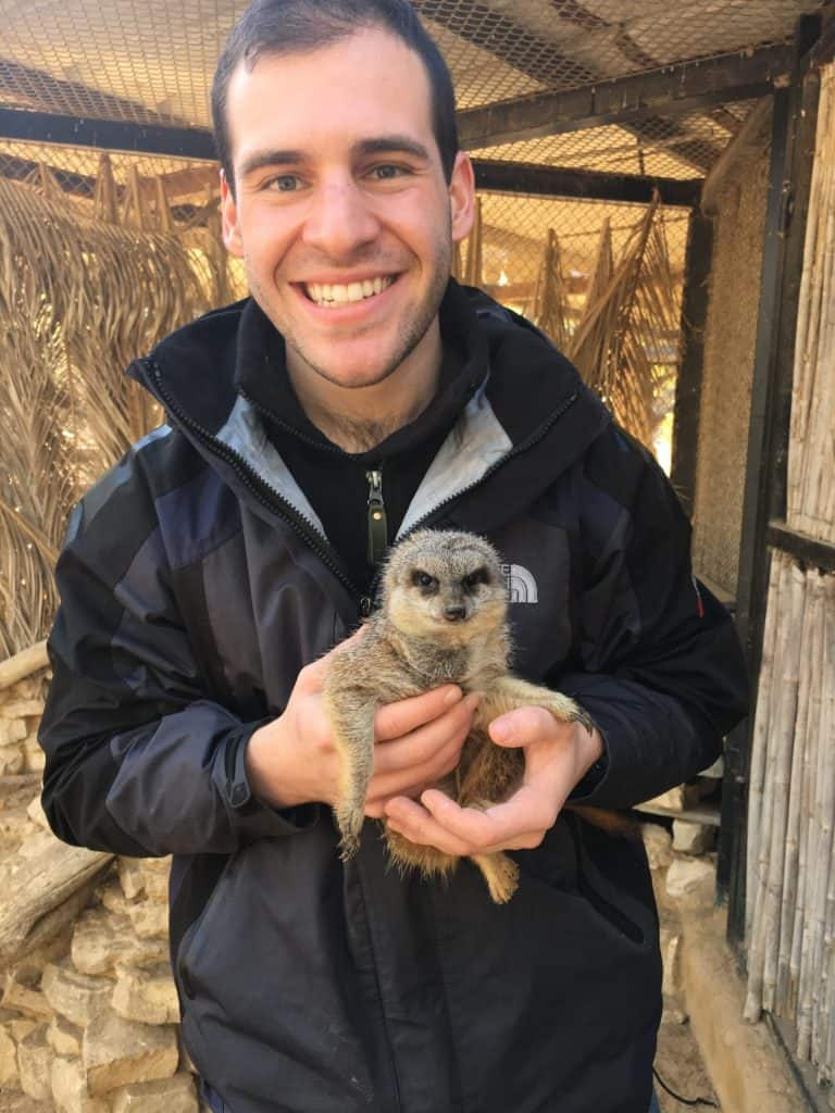 Yoshua Goodman a csu vet student. meerkat named Henry he cared for in The Negev Zoo,