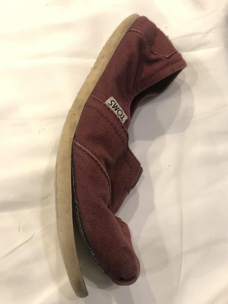 Vet tech shoes: TOMS shoe that fell apart in the dryer. Don't put your vet tech shoes in the dryer.