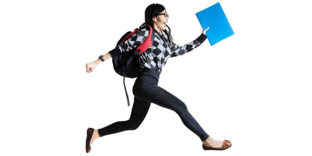 College Student running: Here's your ultimate list of backpack essentials!